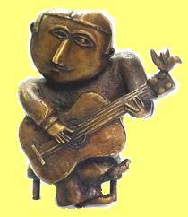 Inos Corradin - Gitaarspeler bronzen beeldje